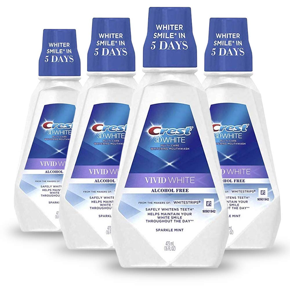Crest Moisturizing Alcohol Free Mouthwash, Vivid White, Alcohol Free (Pack of 4)