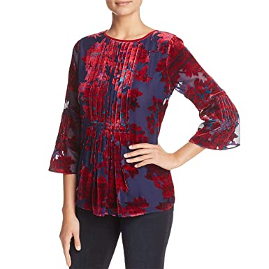 b90ab80de4894c Elie Tahari Orion Flocked-Velvet Blouse 100% Exclusive at Amazon ...