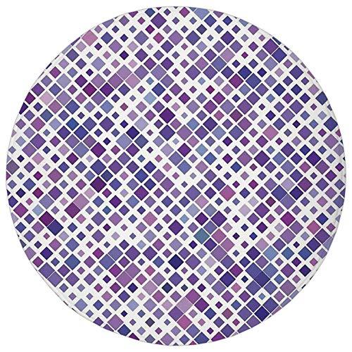 Round Rug Mat Carpet,Lavender,Retro Mosaic Creative Pattern Square Rhythm Abstract Art Print Design,Violet Purple White,Flannel Microfiber Non-Slip Soft Absorbent,for Kitchen Floor Bathroom