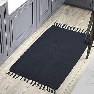 YoKii Indoor Black Throw Rug 2x3, Handmade Reversible Chindi Rag Rug, Tassel Boho Cotton Bathroom Rug Kitchen Mat with Non-Slip Pad, Accent Bedside Kilim Rug Machine Washable, (2x3, Solid Black)