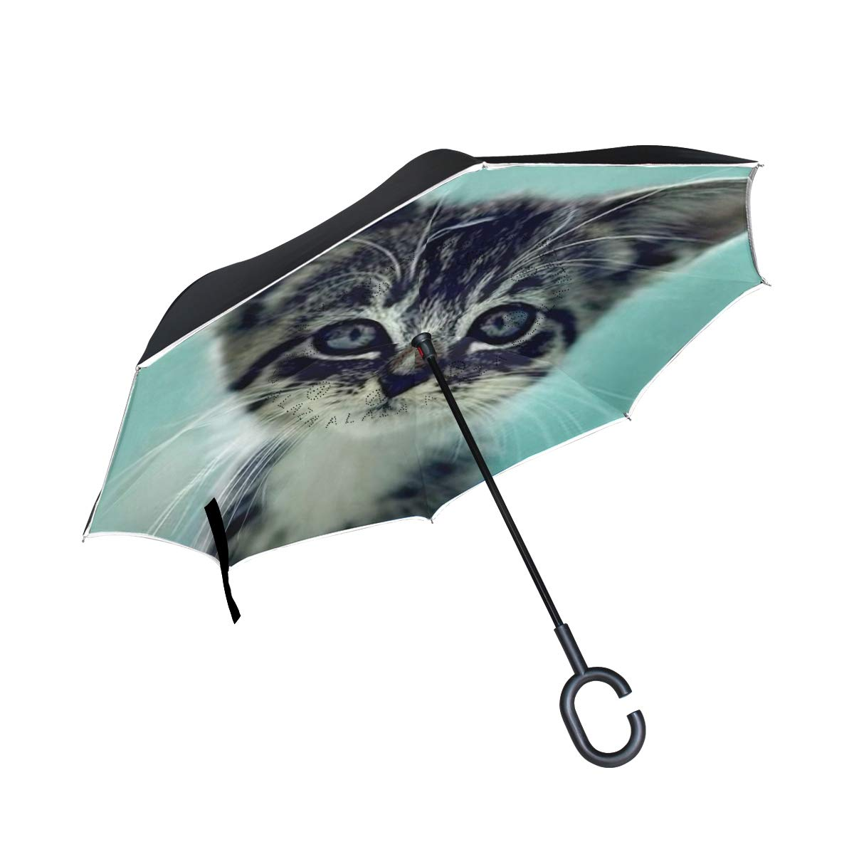 Ladninag 逆傘 猫の足 逆さ傘 リバーシブル ゴルフ 車 旅行 雨 アウトドア ブラック One Size picture6 B07JYVJ8MG