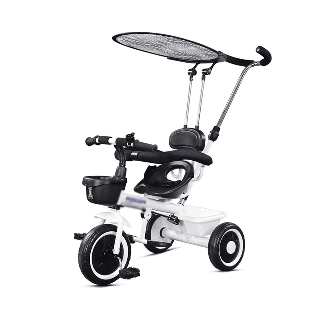 子供の三輪車ベビーベビーカーと1-3-5歳の赤ちゃんのバイクの子供の自転車 乗用玩具三輪車 (Color : 白)  白 B07GLX4KXM