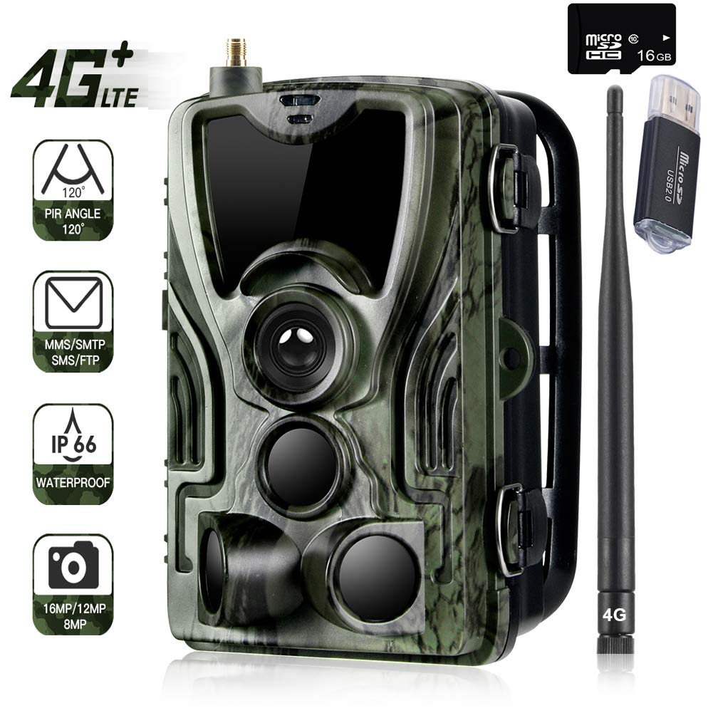 Suntekcam 4G LTE Cellular Trail Game Camera, 16MP 1080P Wildlife Hunting Camera(AT&T/Verizon), Micro SD Card and Card Reader Included, Night Vision IP65 Waterproof Cam,0.3s Scouting Camera