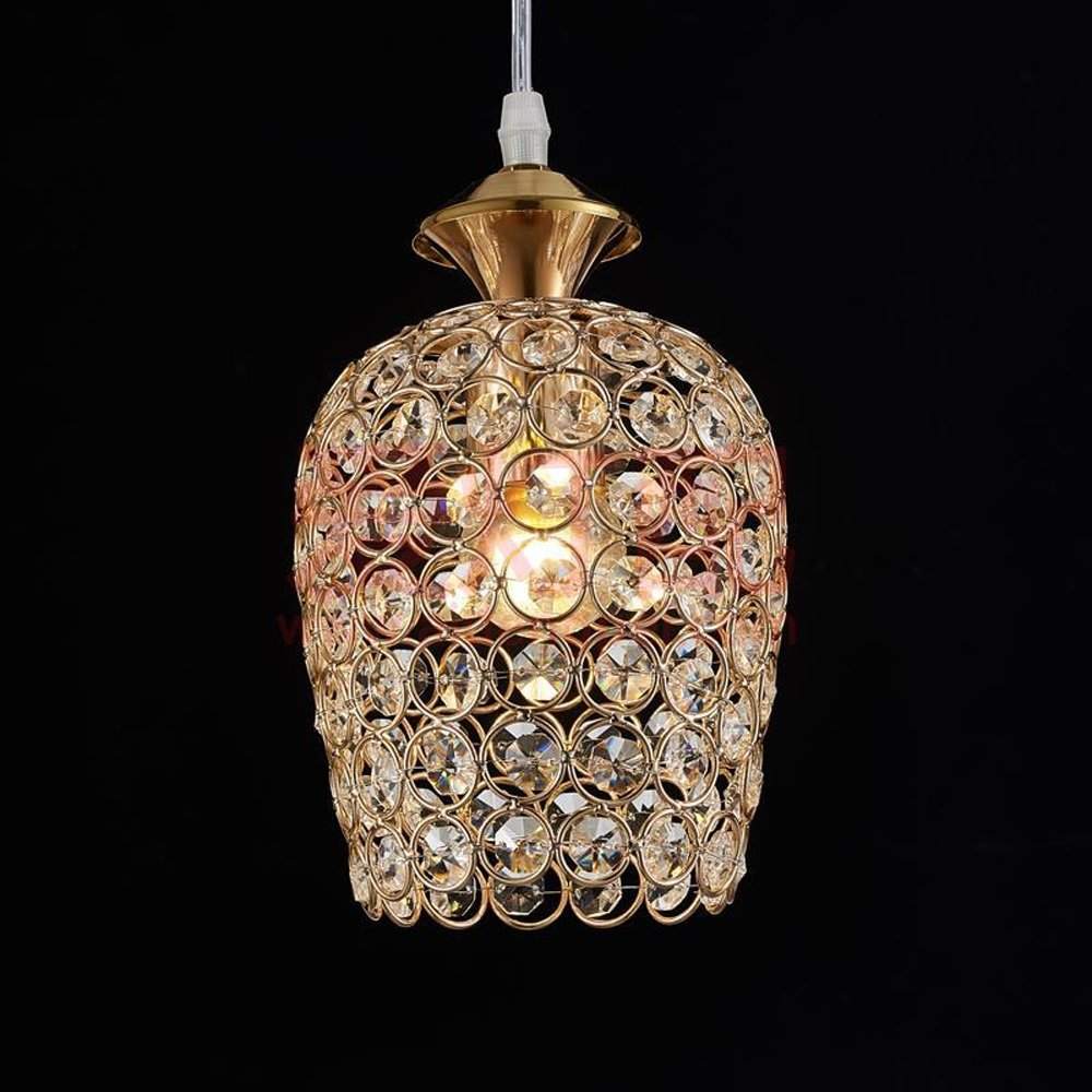 Modern simple single head / 3 head crystal LED pendant lamp European restaurant bar cafe adjustable hanging line luxury chandelier combination E27 ceiling light (Design : Gold-1)