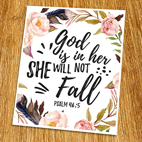 Psalm 46:5 God is in her she will not fall Print (Unframed), Watercolor Flower, Scripture Art, Bible Verse Print, Christian Wall Art, Nursery Print, Inspiration Quote, 8x10