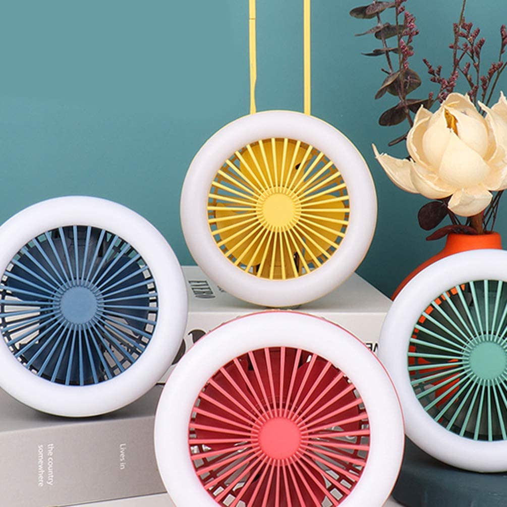 NUOBESTY Mini Handheld Fan Portable Night Light Foldable Fan USB or Battery Powered Desk Fan Adjustable Fan