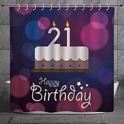Fun Shower Curtain 20 21st Birthday DecorationsHappy Quote With Stars On Abstract