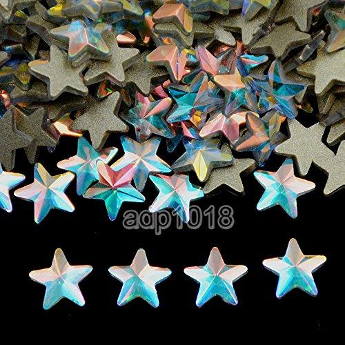 AD Beads Top Czech AB Crystal Multi-Shape Flatback Rhinestone Nail Art Decoration DIY (50 Pcs, 33. Star 6x6mm)