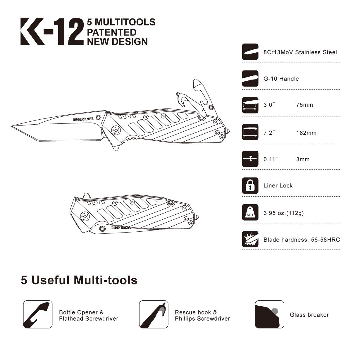 Pocket Folding Knife, RegerKnife 5 Multi-Function Spring Assisted Tactical Knife with 8Cr13MoV Steel Blade, High-Hardness G10 Handle, Pocket Clip, Waterproof Bag, Perfect for Camping, Hunting, EDC