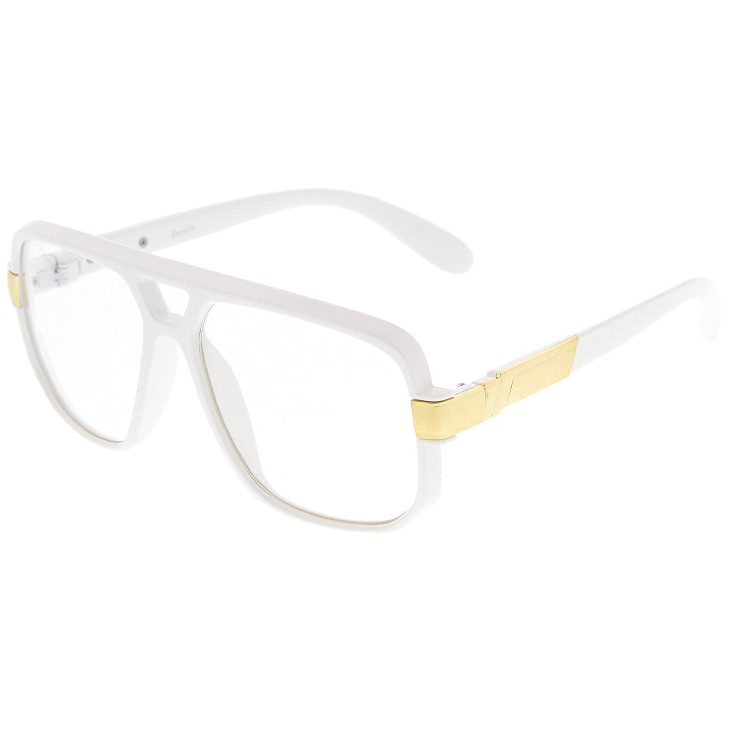 e734eaccd8cb4 Bridge  20 millimeters. Arm  143 millimeters. Classic Square Aviator Frame Flat  Top Design Metal Accented Temples Square Clear Lens