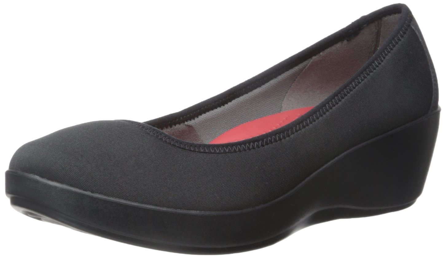 Crocs Women's Busy Day Stretch Ballet Wedge Flat B00OBWVK20 5 W US|Black/Black