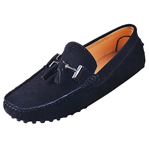 OBM Men's ITALY Moccasin Driving Shoes Casual Slip-On Moc Boat Shoe Genuine Suede Loafers
