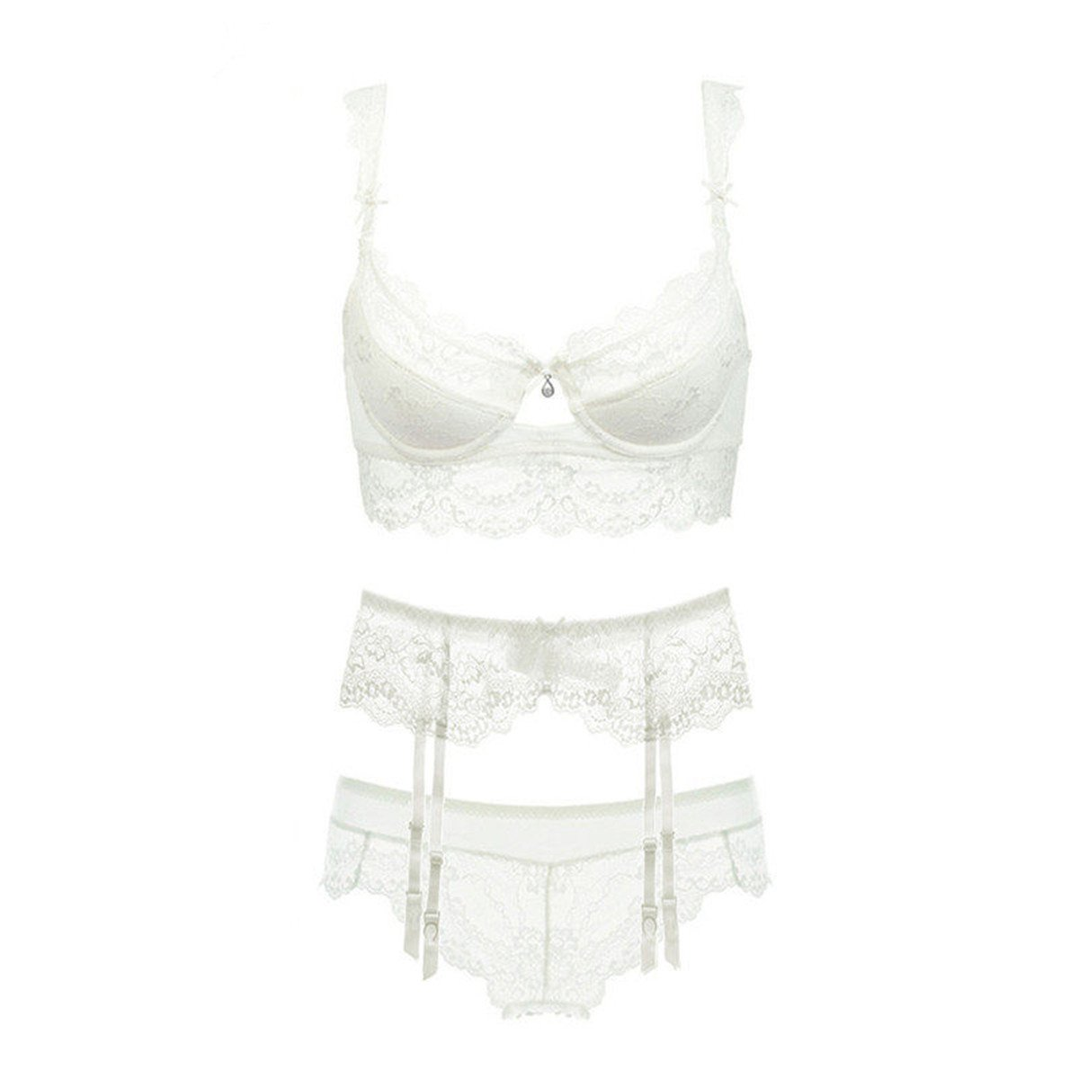 9ec3f8ae04 Top4  Varsbaby Women Push Up Embroidery Bras Set Lace Lingerie Bra and  Panties 3 Piece