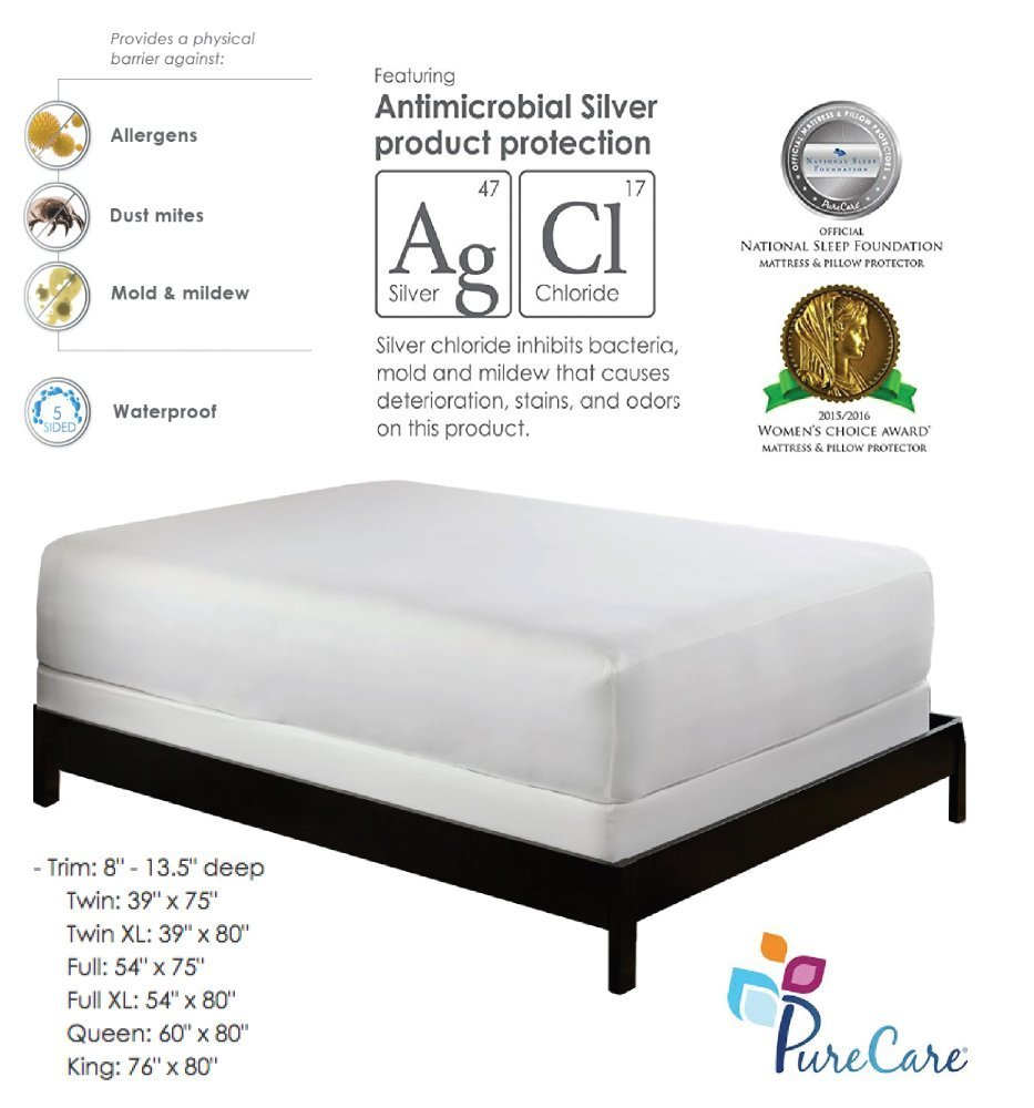 PureCare Premium 5-Sided Mattress Protector, Waterproof Allergy Mattress Cover, Dust Mite Cover Clinically Proven Antibacterial Machine Washable (QUEEN)