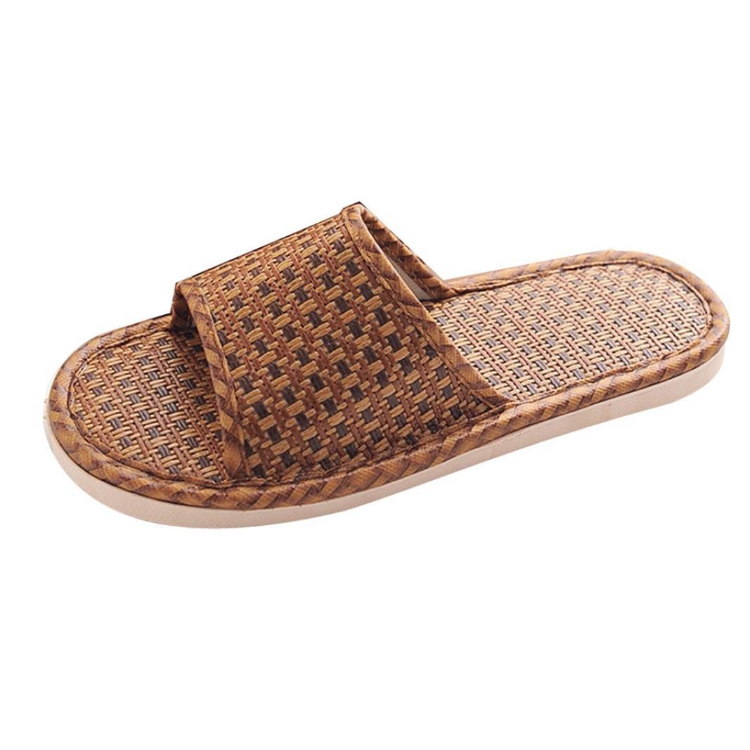 Pantofole da Casa Casuali, Honestyi Scarpe Basse Flip Flops Donna, in Erba di Canna, Ciabatte da Donna, Pantofole Pantofola Donna Scarpe da Spiaggia Scarpe Donna SandaliMarrone