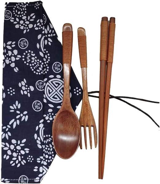 Chinese Vintage Wooden Chopsticks Spoon Fork Tableware 3pcs//Set New Gift US