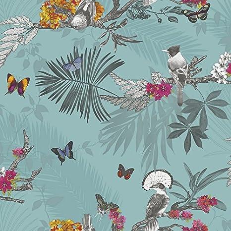 Arthouse Papier Peint Foret Mystique Feuille Oiseau Papillon