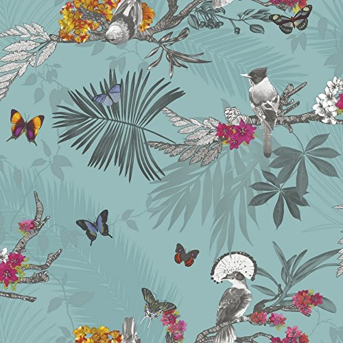Mystical Forest Wallpaper - Teal - 664801 by PriceRightHome