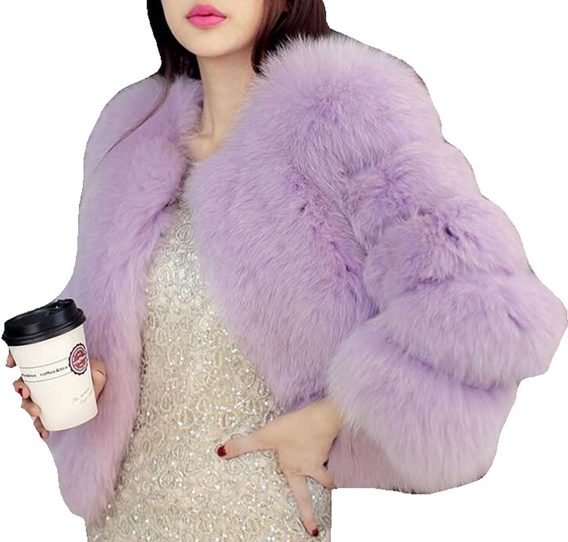 Simplee Women Luxury Winter Warm Fluffy Faux Fur Short Coat Jacket Parka Outwear
