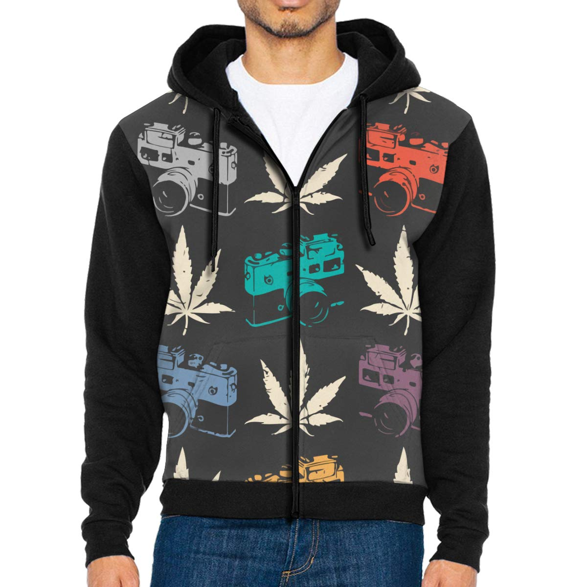 G-Fulling Camera Cannabis Leaf 3D Print Fashion Men's Hooded Sweatshirts Drawstring Pullover Hoodies Pockets