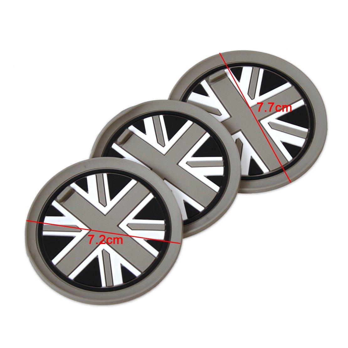 beler 3stk Grau Union Jack Auto Anti-Rutsch Becher Matte Cupholder Mat