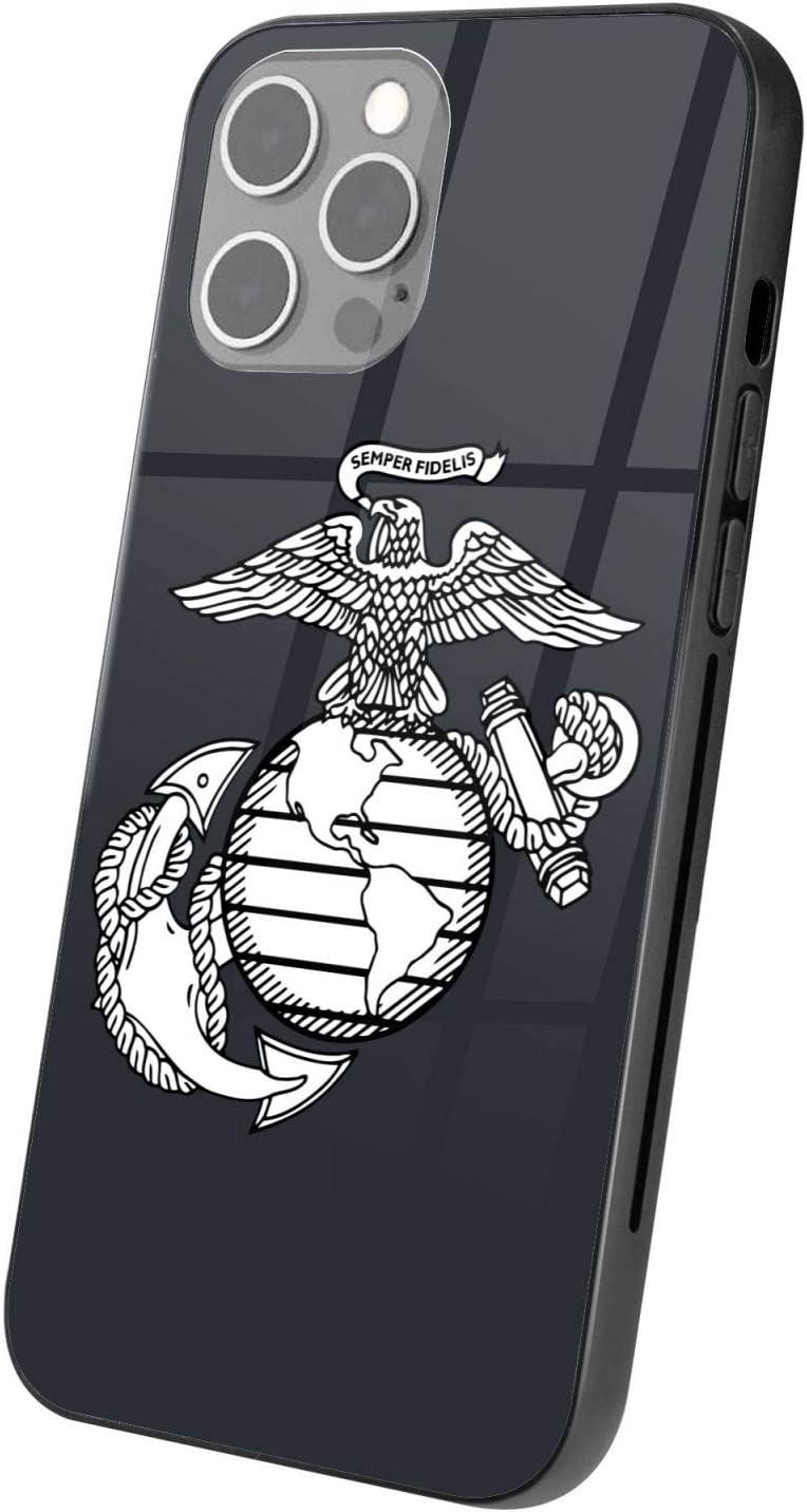 OAKSTOY Eagle Globe Anchor USM Marine Corps Glass+ Case Suitable for i Phone 12 Skid Shock Proof Anti Scratch Phone Case, (i Phone 12 Pro)