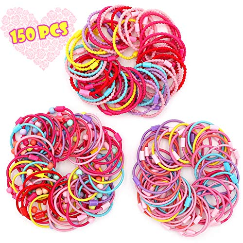 LITTLEMOLE Hair Ties, Bands Rope Ponytail Ties Mixed Colors Headband Accessories, Pearl Ribbon Bowknot Hair Rubber, Fit for Women Ladies Baby Girls Kids Children, Set of 10 (Mixed Color 150)