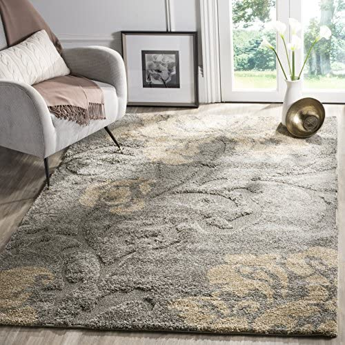 Safavieh Florida Shag Collection SG458-8013 Grey and Beige Area Rug 8 6 x 12