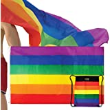 The Pride Side Gay Pride Flag Set by 3x5 Feet Hangable & Wearable As A Cape Rainbow LGBT Colors Homosexual Lesbian Outdoor Banner. Extra-Durable with Brass Grommets + Travel String Bag
