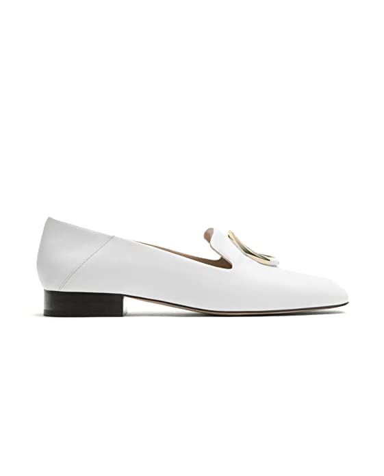 Massimo Dutti Mocasines de Otra Piel Mujer, Blanco (Blanco), 37: Amazon.es: Zapatos y complementos