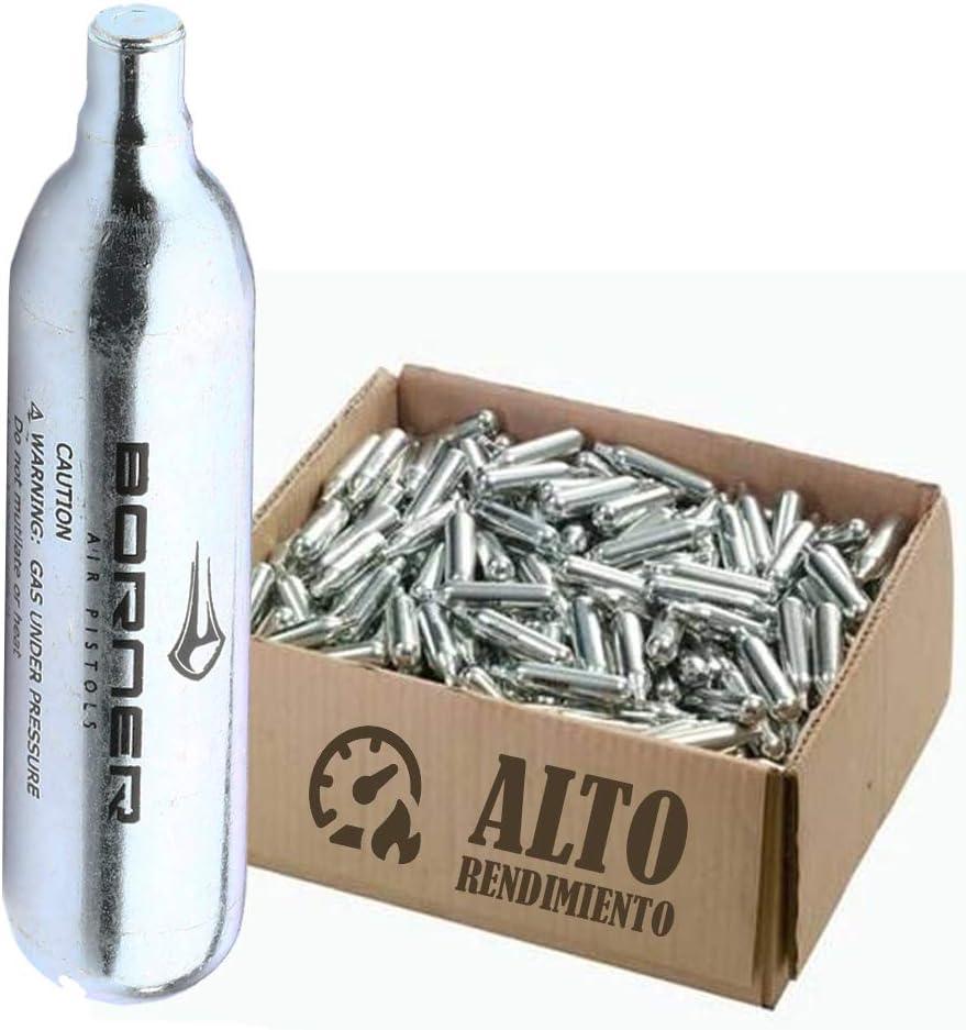 BORNER - Bombonas de CO2 de Alto Rendimiento | Capsulas de Aire comprimido con Cargas de 12 gr para Armas de Airsoft o Pistolas de balines y perdigones