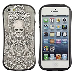LASTONE PHONE CASE / Suave Silicona Caso Carcasa de Caucho Funda para Apple Iphone 5 / 5S / Angel Death White Black Sketch Skull