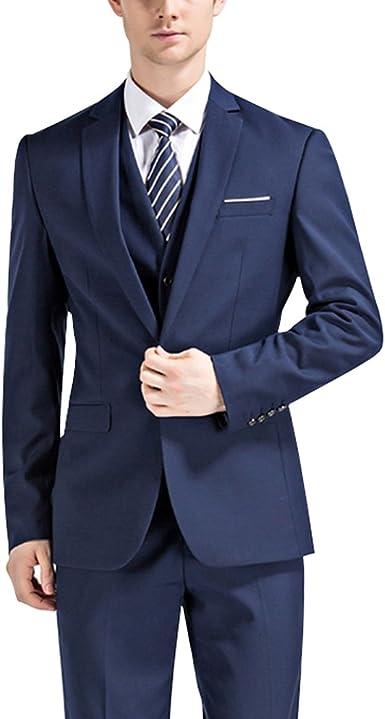 Amazon.com: yeacolor traje moderno Fit para hombre azul ...