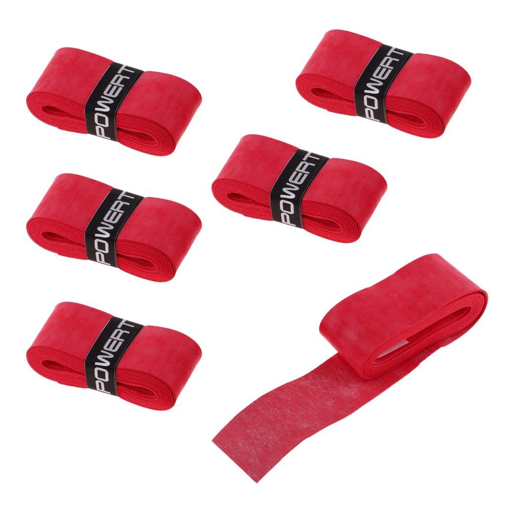 MagiDeal 6er Set Anti-Rutsch Tape Band Grip Overgrip Griffbänder für Badminton Tennis Squash Schläger