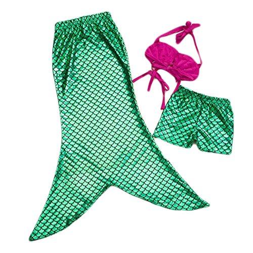 Pinbo® Little Girls 3 Pcs Princess Mermaid Tail Bikini Set Swimwear Swimsuit (150(7-8T)) by Pinbo