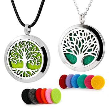 Stainless Steel Tree of Life Aromatherapy Diffuser Locket Pendant Necklace Pads