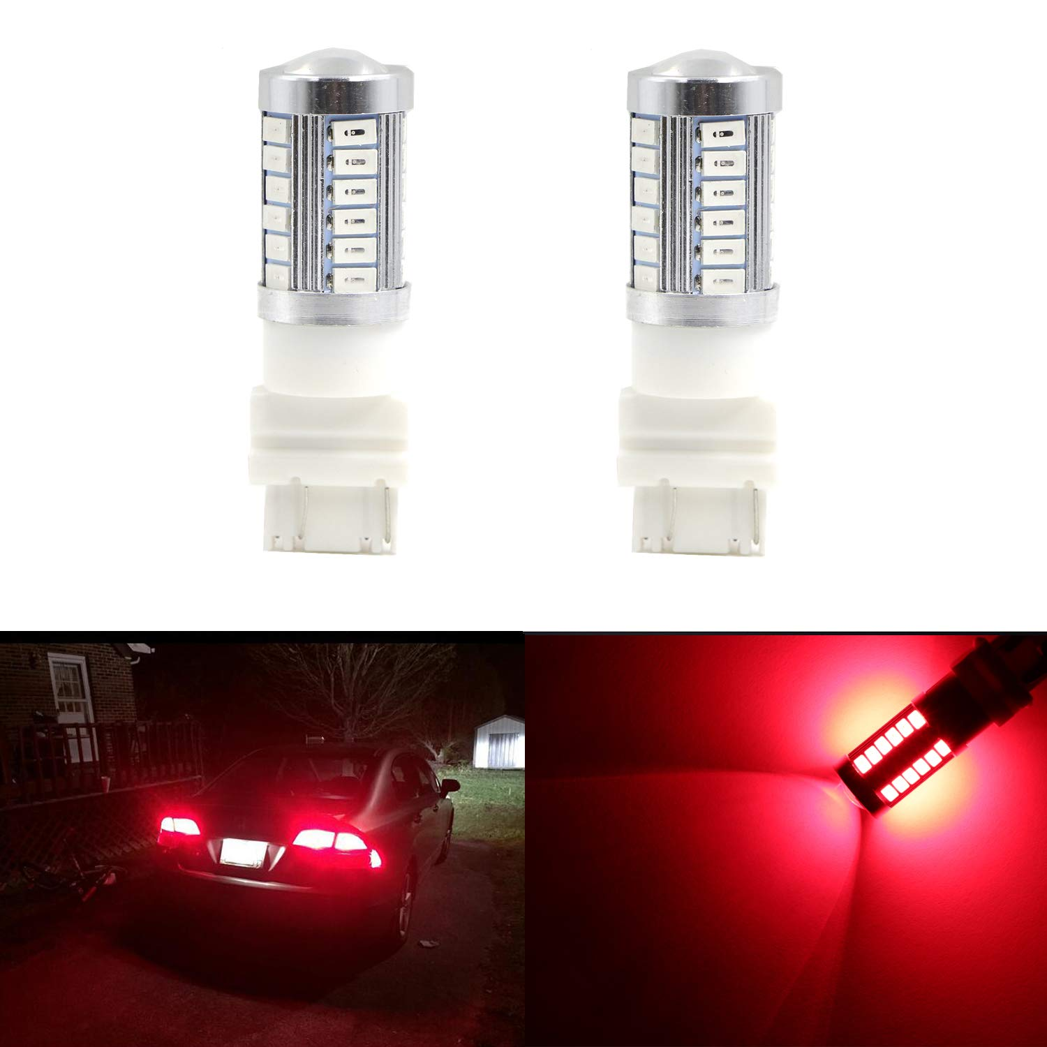 1156 1073 1095 1195 Newest Extremely Bright Red w/33 SMD LED Bulbs for Tail Lights Brake Lights (Pack of 2) youxmoto