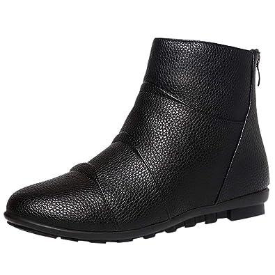 53ece453a81 Amazon.com | Limsea Women's Boot Fashion Retro Back Flat Low-Heeled ...