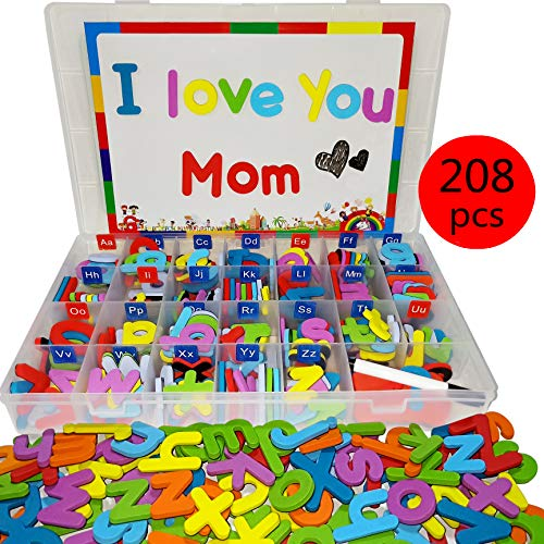 Alphabet Foam Storage - Wallxin Magnetic Alphabet Letters Foam Set with Double-Side Magnet Board for Fridge Refrigerator Toy - Educational School Classroom Learning Spelling(208 Pcs)