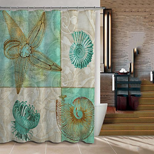 ChadMade Fabric Waterproof Seashell Conch Bathroom Shower Curtain in 72