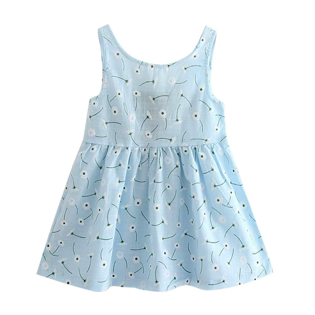 Vicbovo Clearance Baby Girls Dresses, Toddler Girls Sleeveless Cherry Print A-Line Mini Casual Princess Summer Dress for 2-7 Y (5-6 Years, Light Blue)