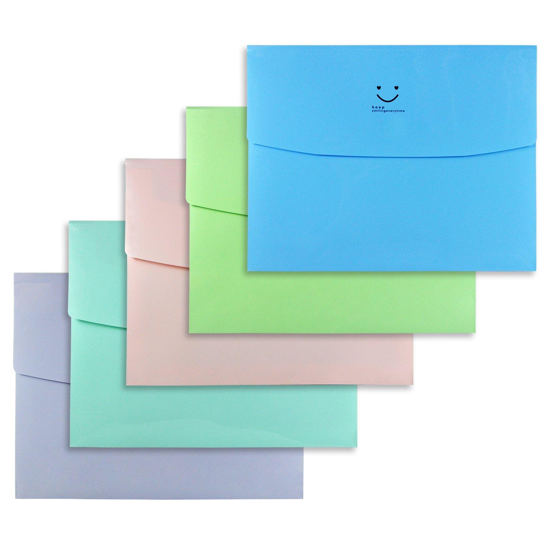 Littfun Expansion Folder Elegant Solid Color A4 Paper Bags,Pack of 5