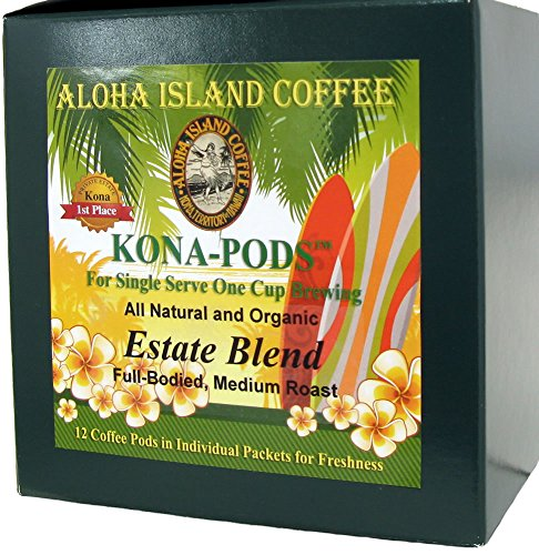 Senseo Pods From Our Chefs Tasting Collection of Kona Hawaiian Coffee Pods, Estate Blend Pods, Box of 12 Pods. Reusable Pod Adapter Is Available for Eco-friendly K-cup Brewing - Estate Collection Island