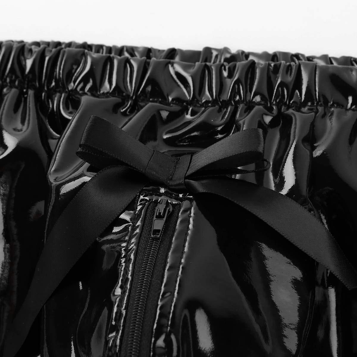 Alvivi Mens Wet Look Boxer Briefs Zippered Bulge Pouch Underwear Ruffled Panties Skirted Bottom