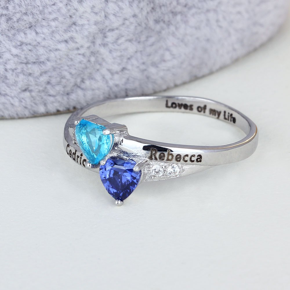 Anillos personalizados de promesa para pareja con piedra de nacimiento de AAAA para su aniversario de compromiso, anillo de joyería para mujeres: Amazon.es: ...