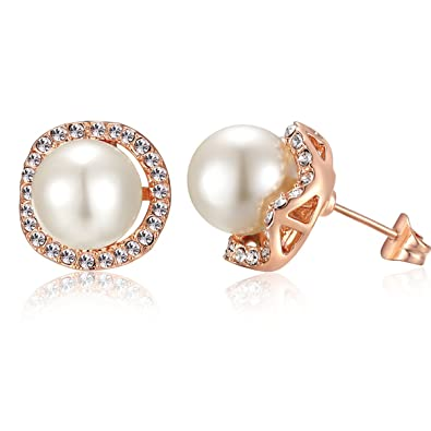 4bd9375f969 Amazon.com  sigaga crystal Flower Pearl Stud Earrings Women
