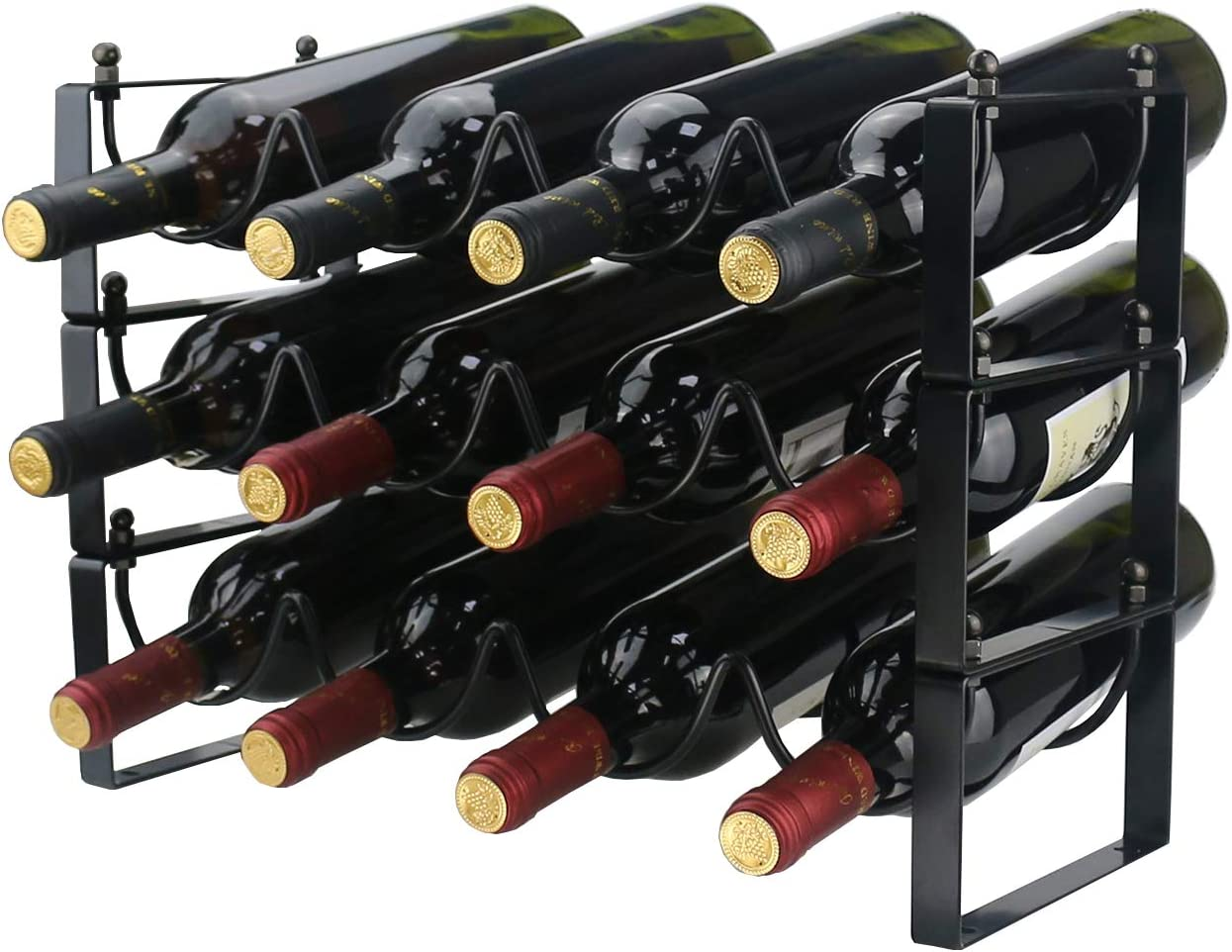 Ogrmar 3 Tier Stackable Wine Rack Countertop Cabinet Wine Holder Wine Storage Shelf Hold 12 Bottles for Kitchen, Bar, Pantry, Wine Cellar, Basement, Countertop, Cabinet