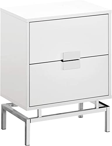 Monarch Specialties Accent, End, Night stand, Side Table, 2 Drawers, 24 H, White