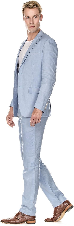 Amazon.com: Gino Vitale Slim Fit Pure Linen - Traje para ...