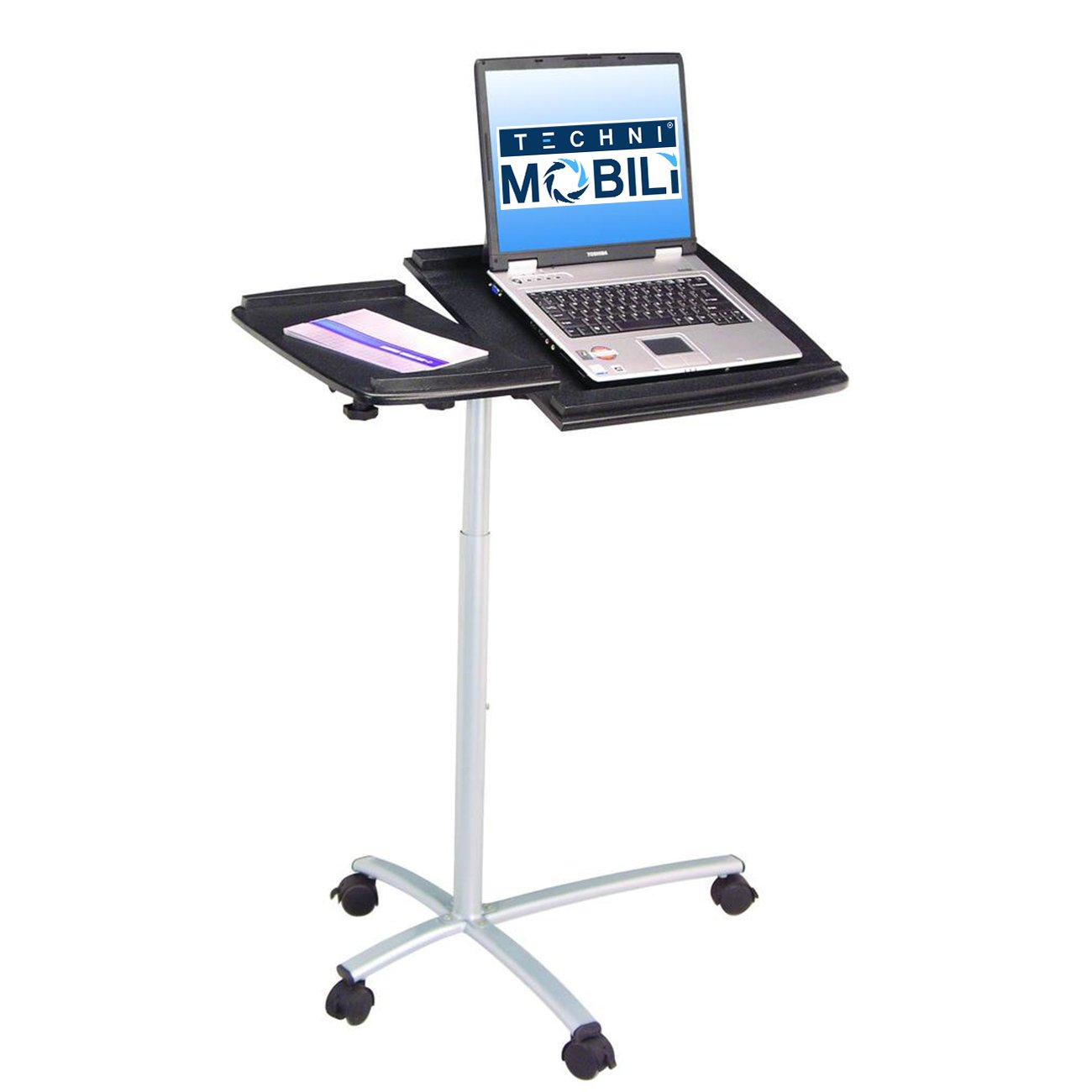 Amazon.com: TECHNI MOBILI Sit To Stand Rolling Adjustable Laptop Cart    Graphite: Computers U0026 Accessories